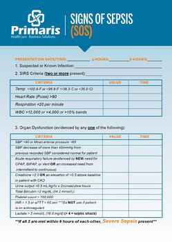 Sepsis POCKET CARD | Core Measures | Primaris