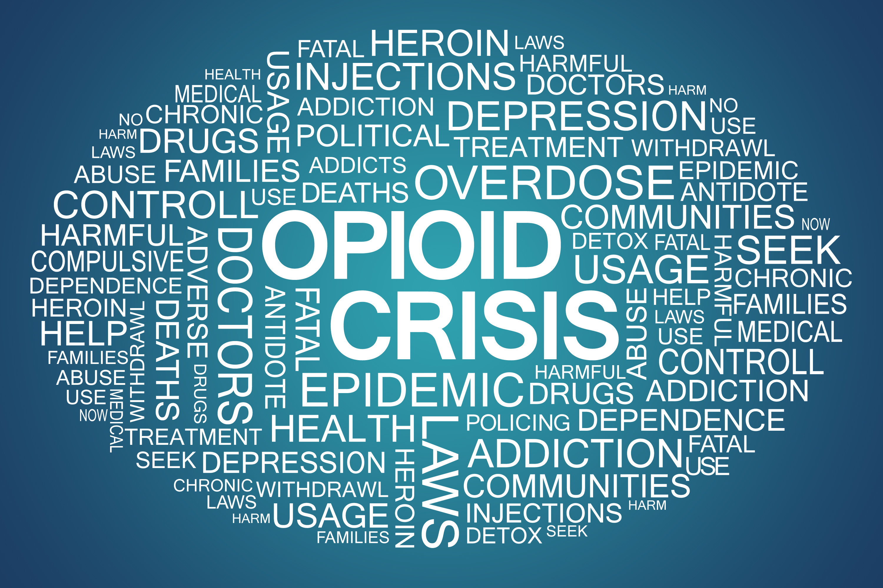 Sign board showing different words related to the opioid crisis, including epidemic and doctors   healthcare news   Primaris
