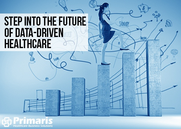 Illustration of woman stepping to a higher level, with another higher level beyond that. It illustrates the challenge of unlocking data in order to enhance the quality of healthcare.
