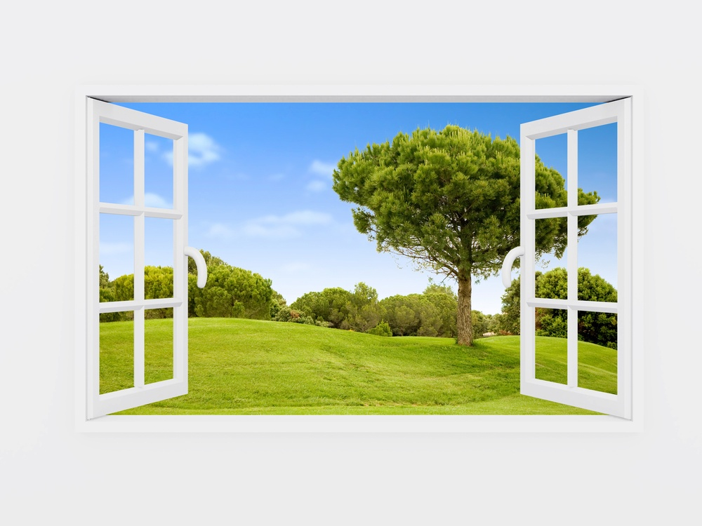 Beautiful view over a window of a green field with a blue sky