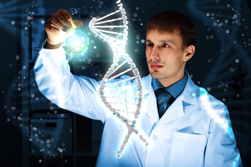 Image of DNA strand against color background