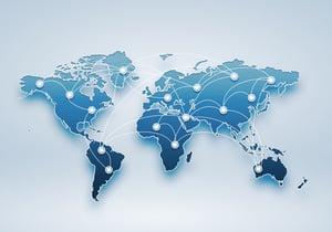 Image of a light blue world map