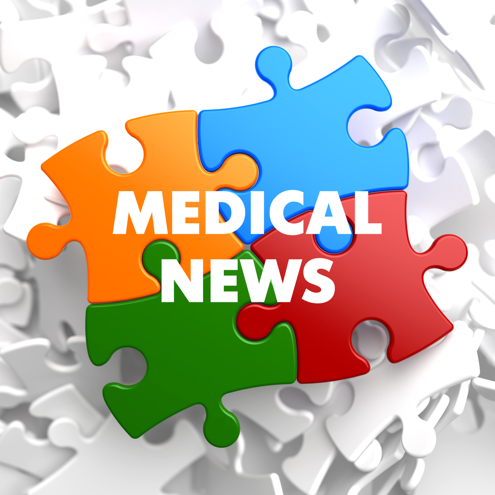 Medical News on Multicolor Puzzle on White Background.