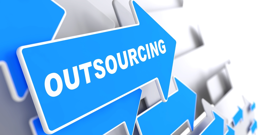 Outsourcing - Business Background. Blue Arrow with Outsourcing Slogan on a Grey Background. 3D Render.