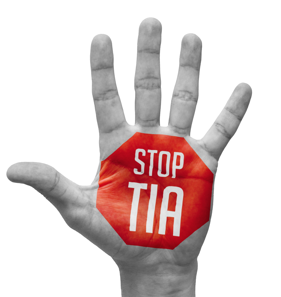 Stop TIA Sign Painted - Open Hand Raised Isolated on White Background.