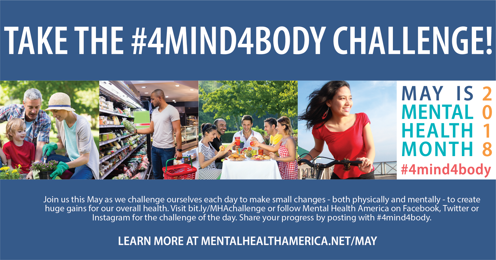 Collage of images promoting the #MIND4BODY Challenge to observe Mental Health Month during May.