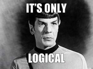 Star Trek's Spock in an image that says, It's only logical.